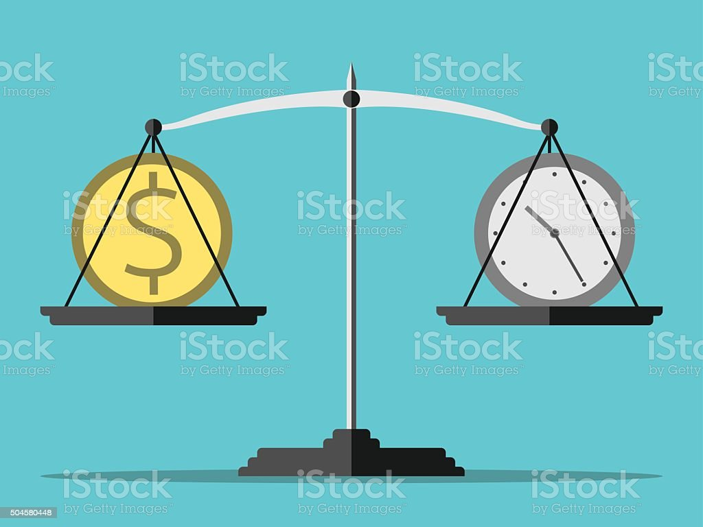 Scales, money and time vector art illustration