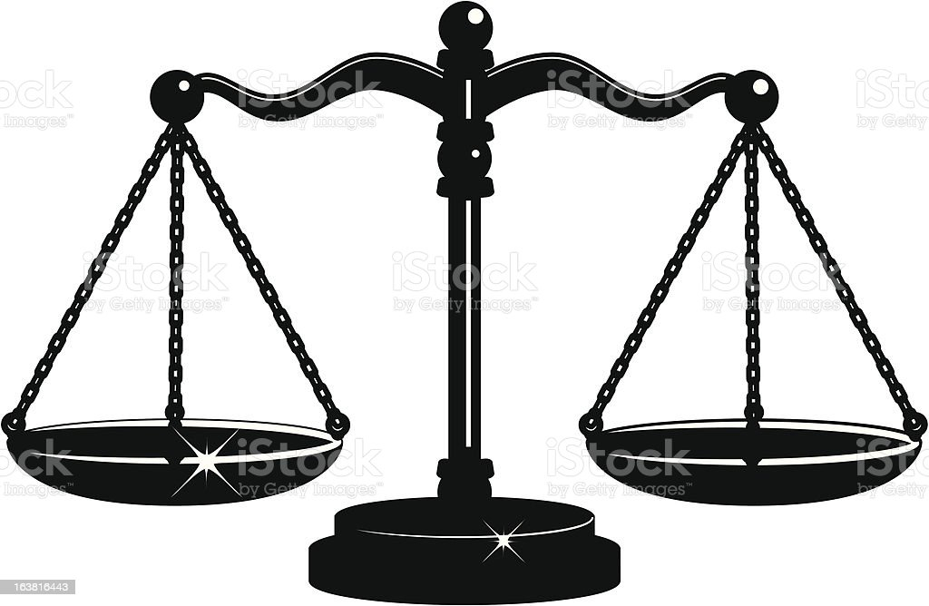 Scales of Justice Black and White vector art illustration