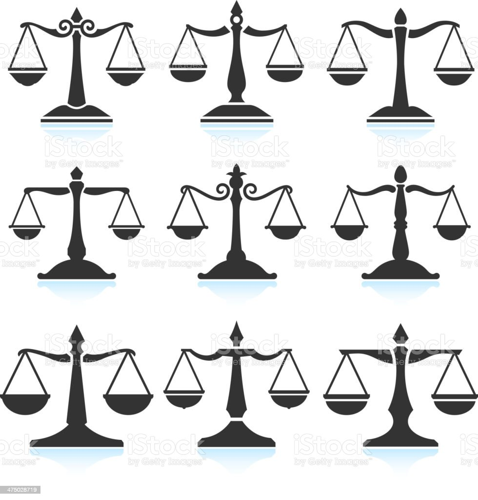 Scales of Justice Black & White Set vector art illustration