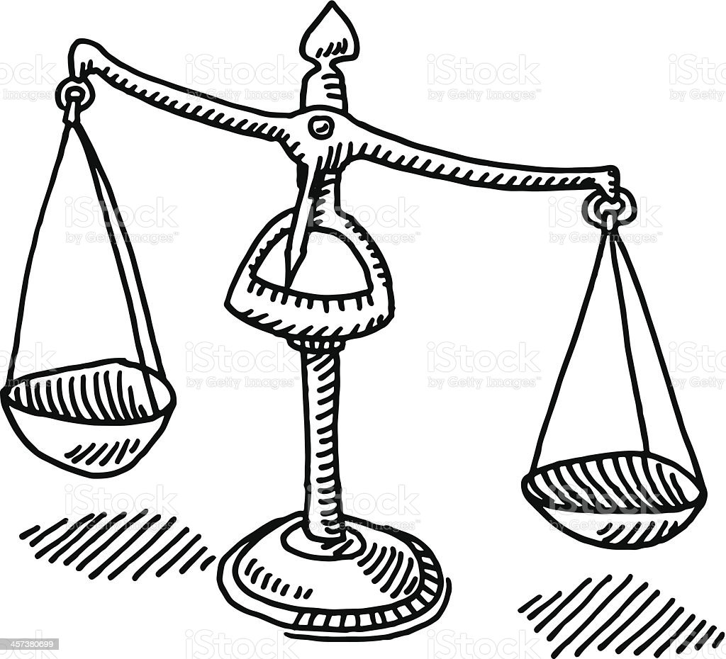 Scales Of Justice Drawing vector art illustration