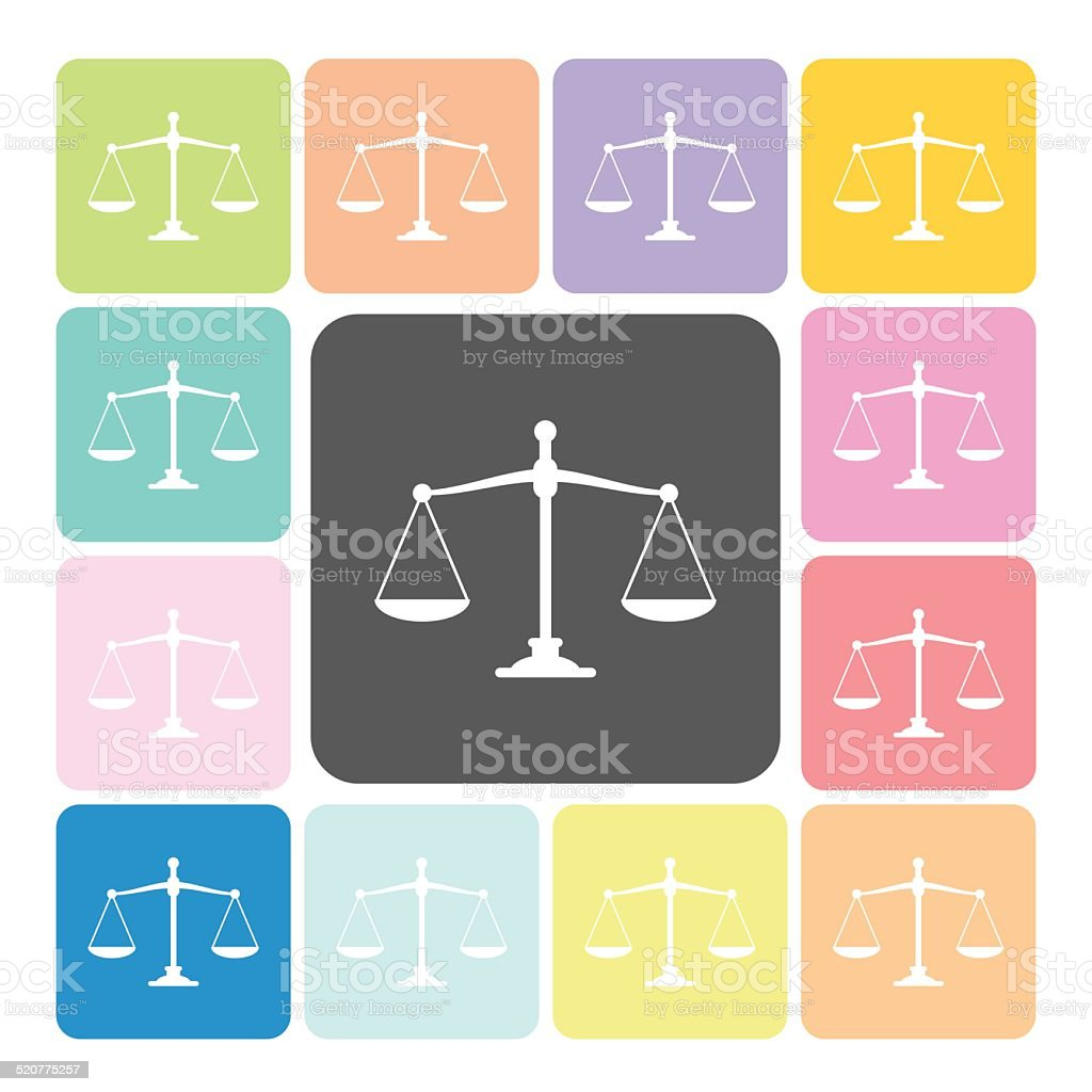 Scales of justice Icon color set vector illustration vector art illustration