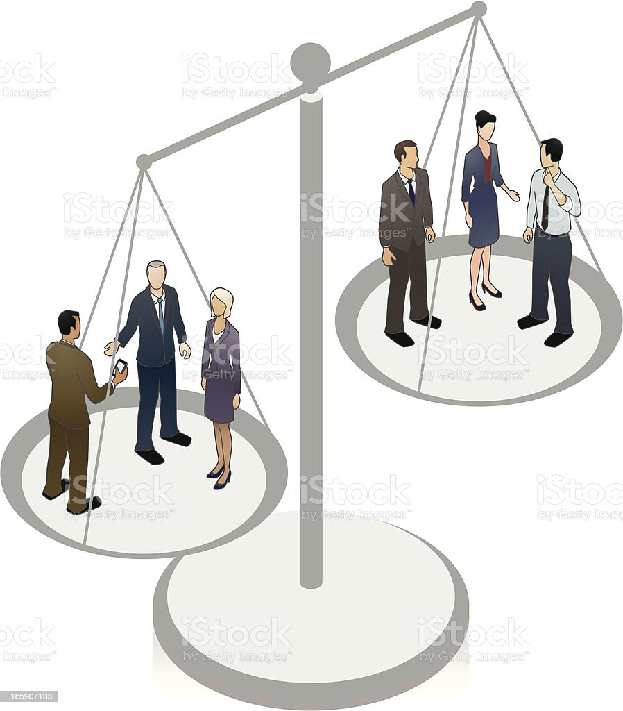 Scales of Justice Illustration With People vector art illustration