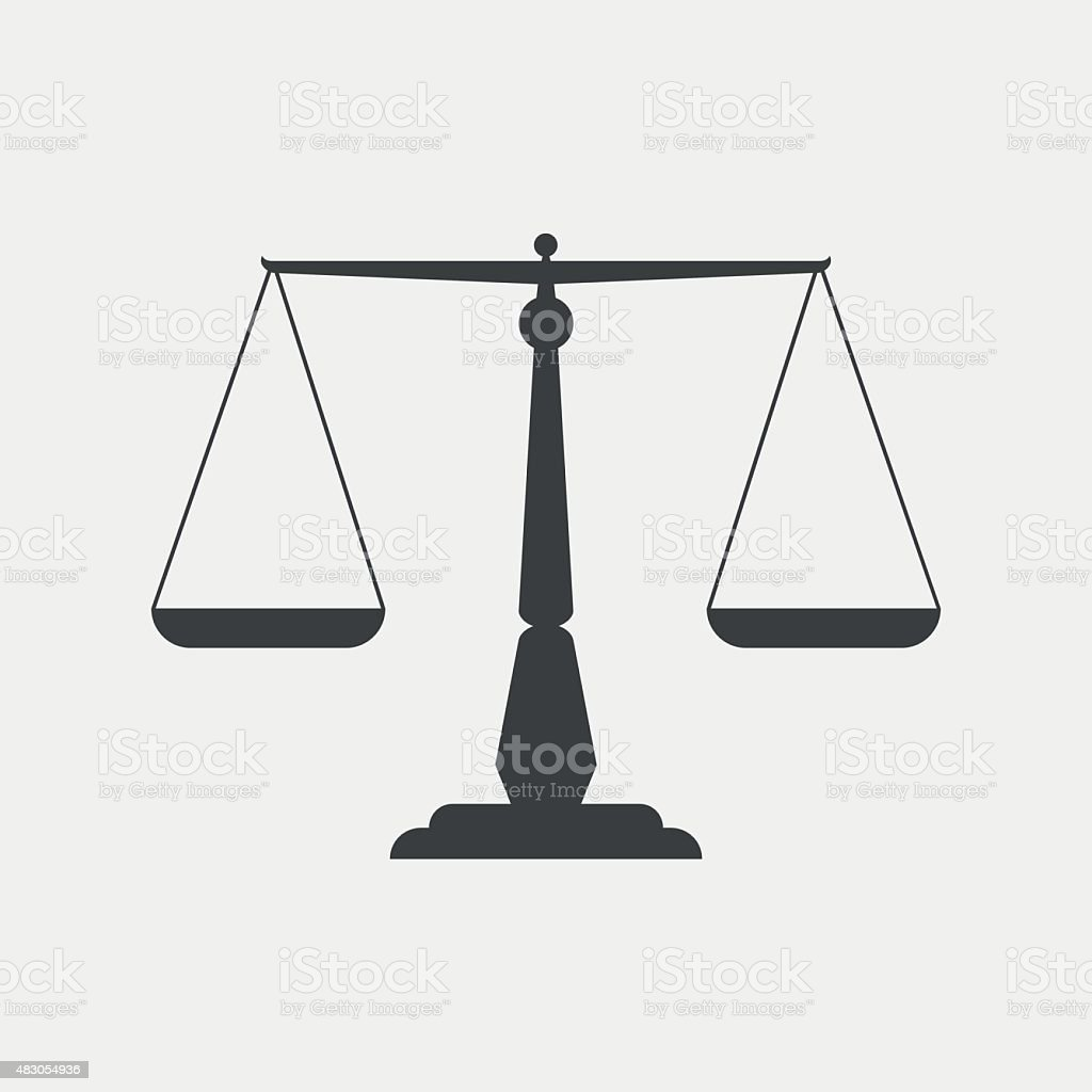 Scales of justice monochrome icon vector art illustration