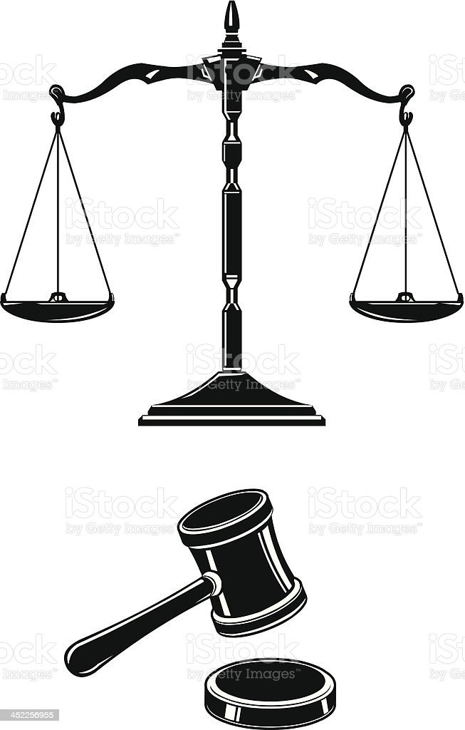 Scales of Justice With Hammer and Gavel vector art illustration