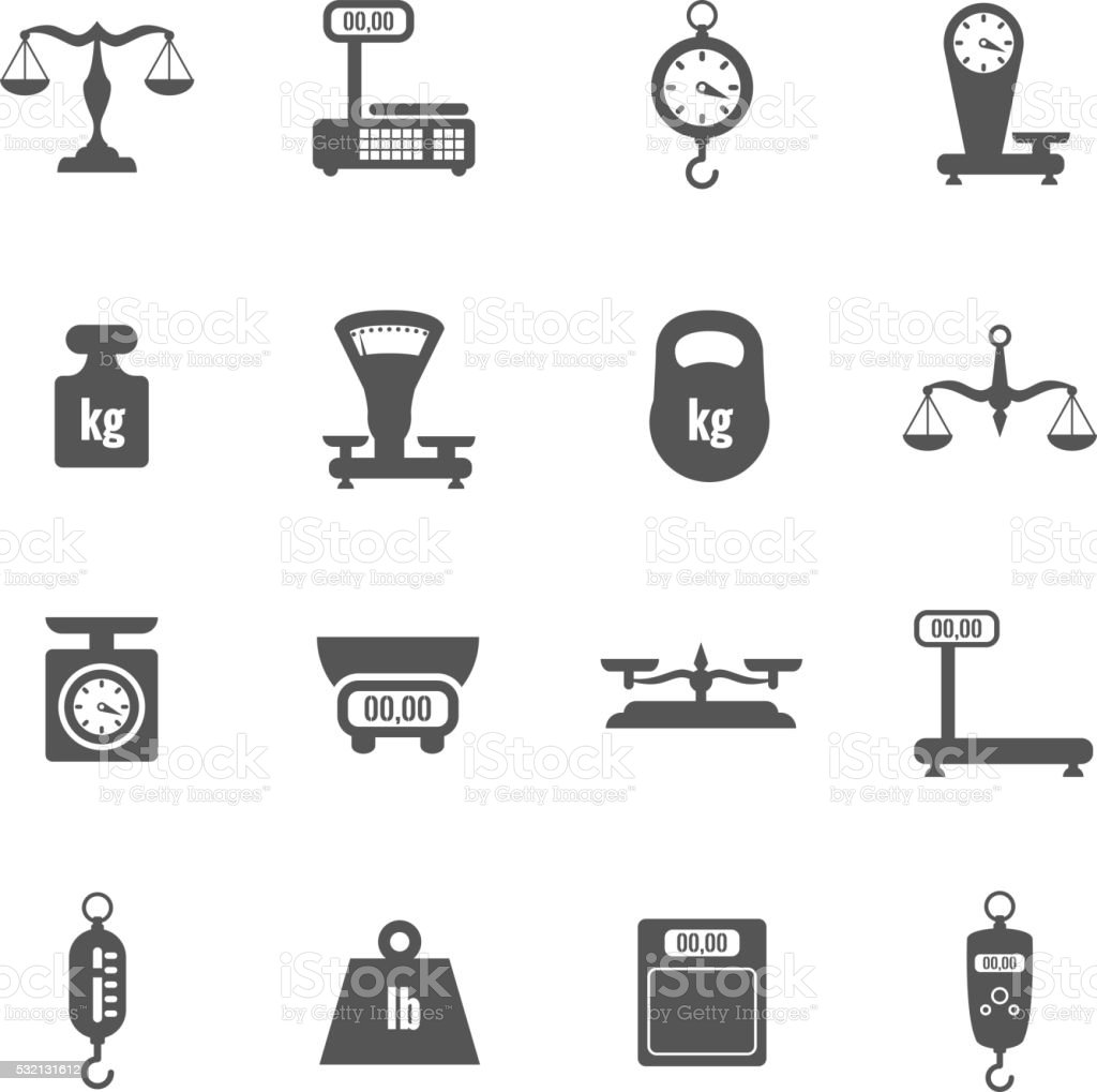 Scales, weighing, weight black vector icons set vector art illustration
