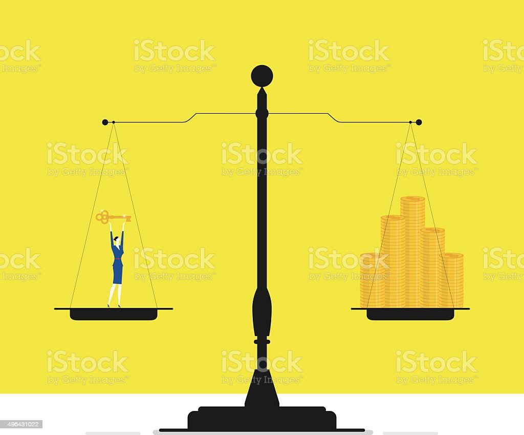 Scales with gold coins on one side and a businesswoman vector art illustration