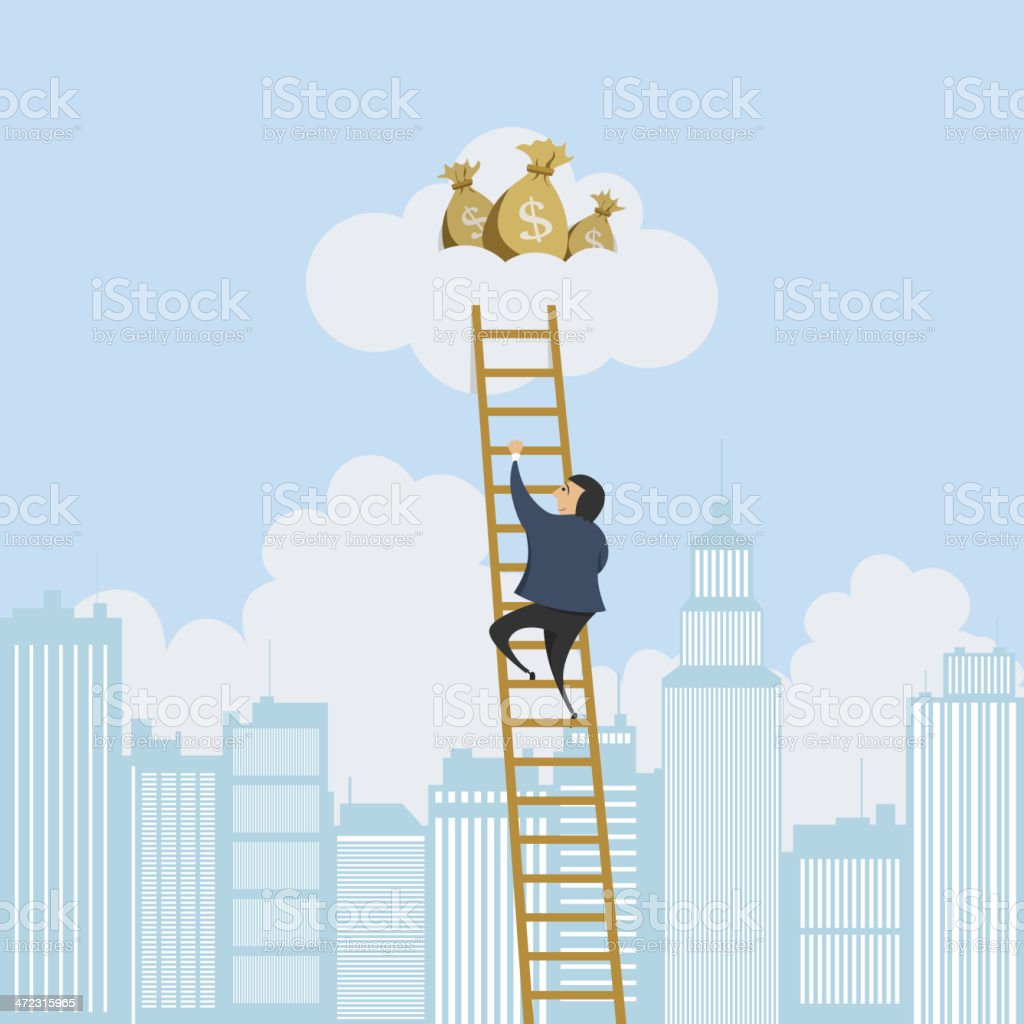 Scaling Ladder to the Money royalty-free stock vector art