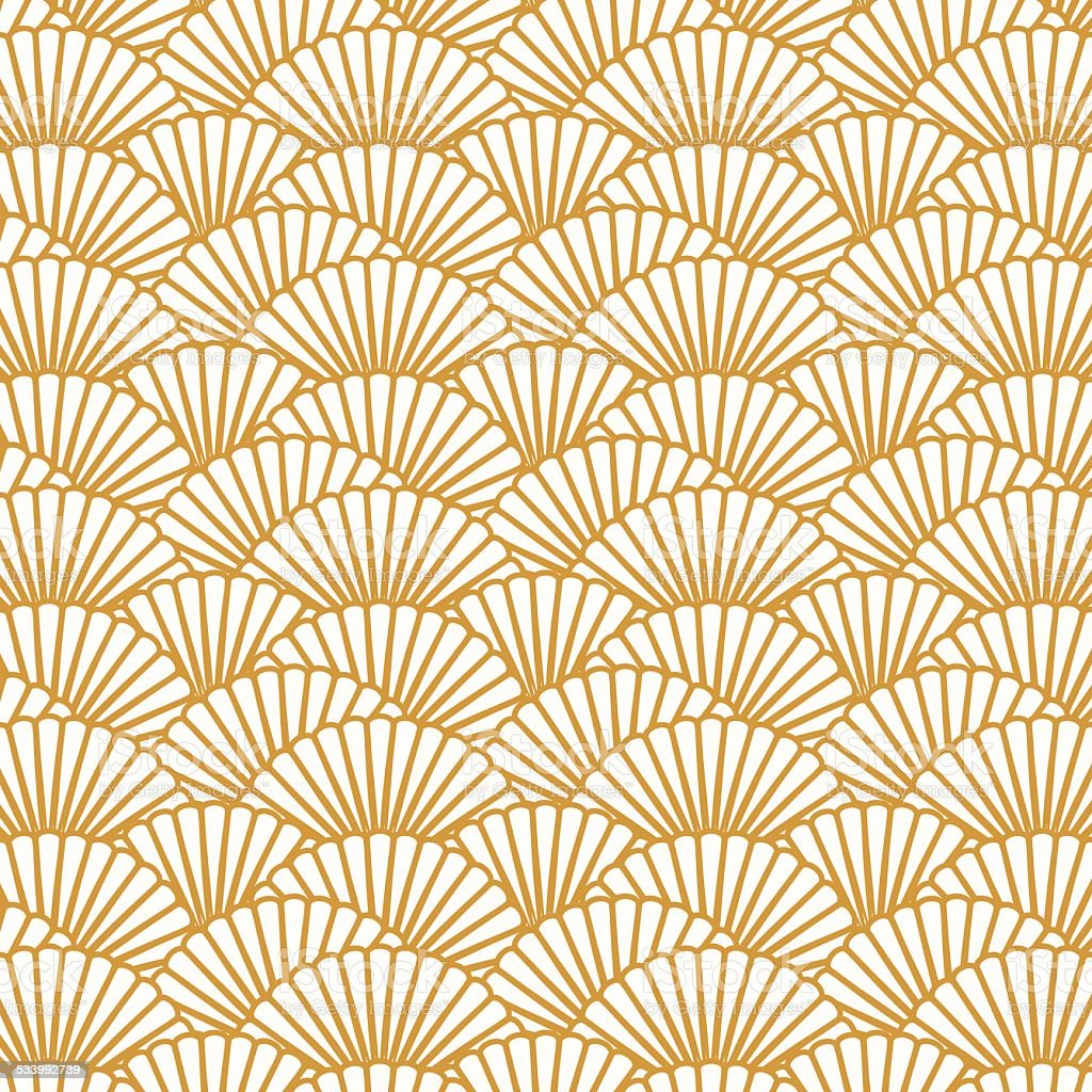 Scallop pattern repeat background vector art illustration