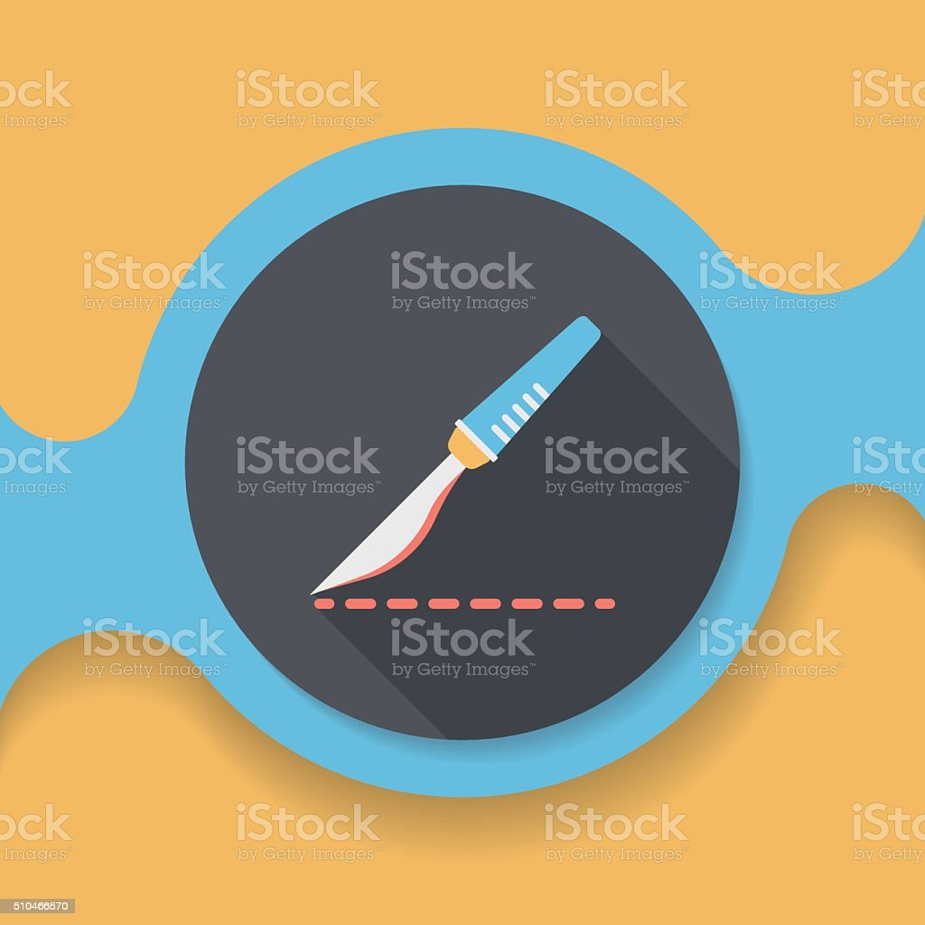 Scalpel cut flat icon with long shadow vector art illustration