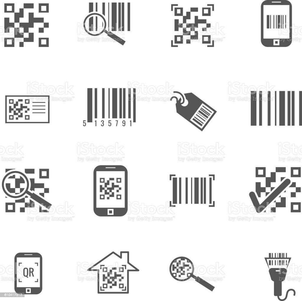 Scan bar and qr code vector icons vector art illustration