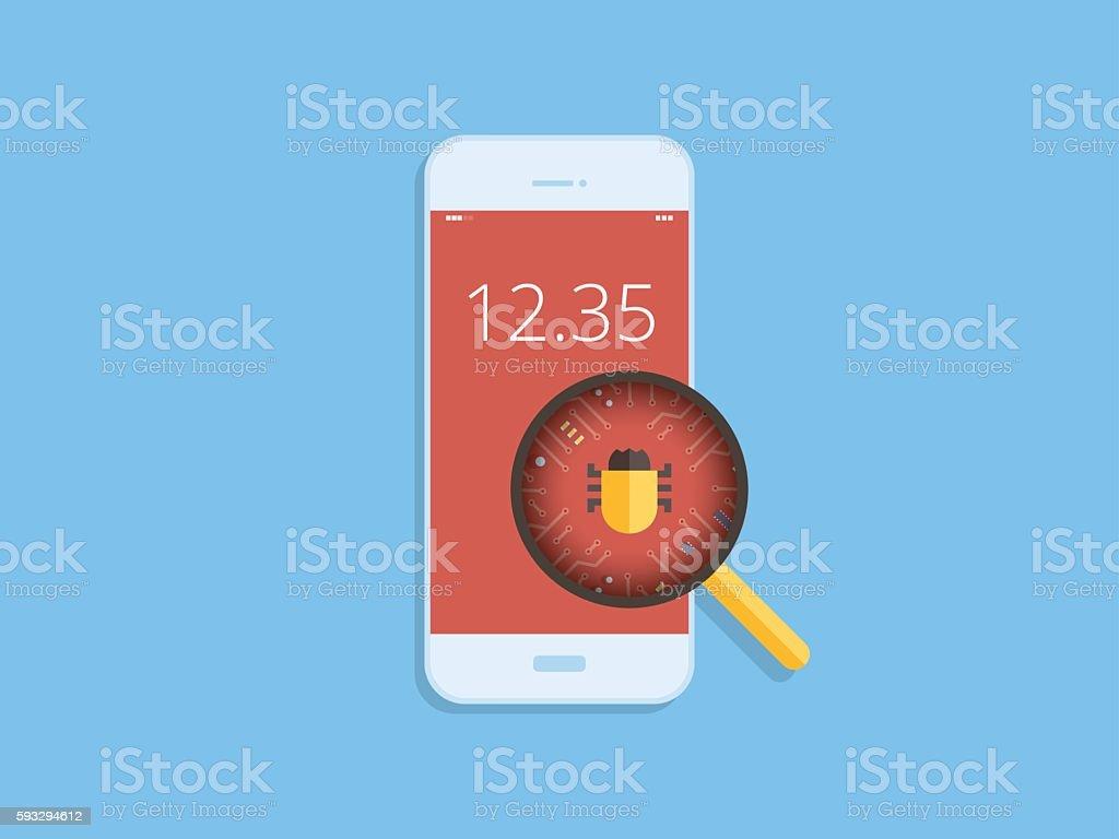 Scan virus on mobile, malware detected on mobile, flat design vector art illustration