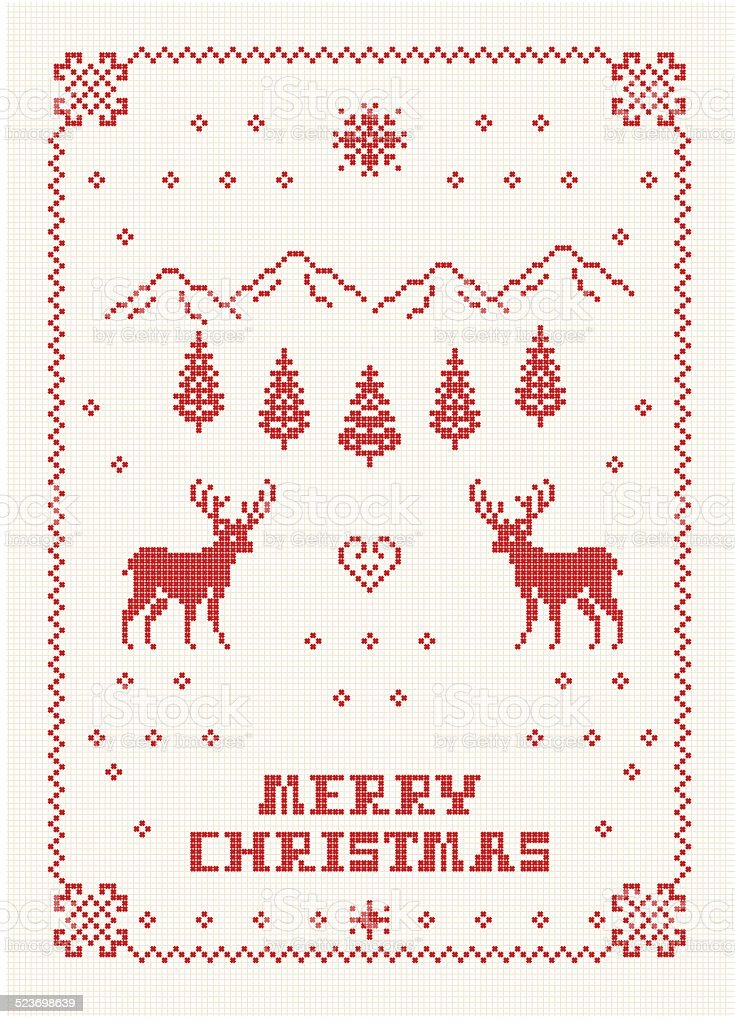Scandi Christmas Embroidery vector art illustration