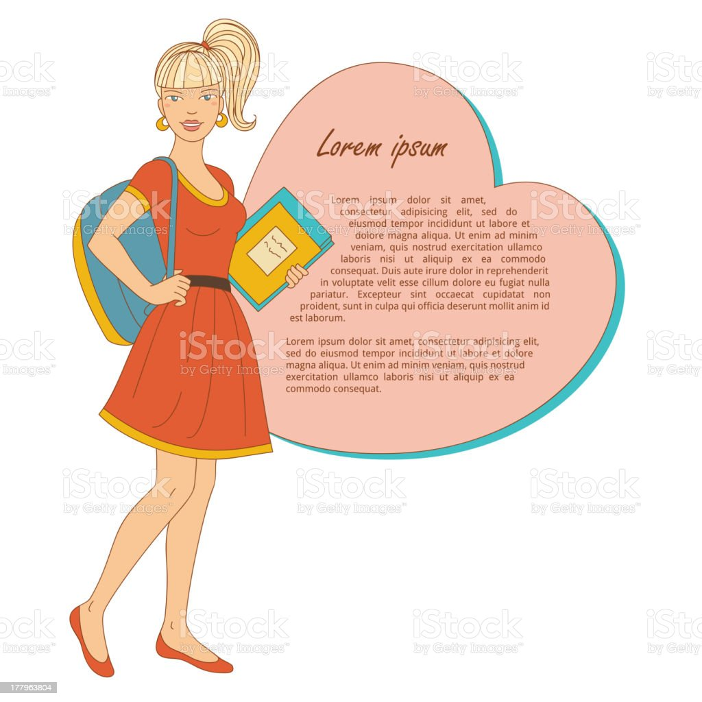 Scandinavian college girl with books and bag royalty-free stock vector art