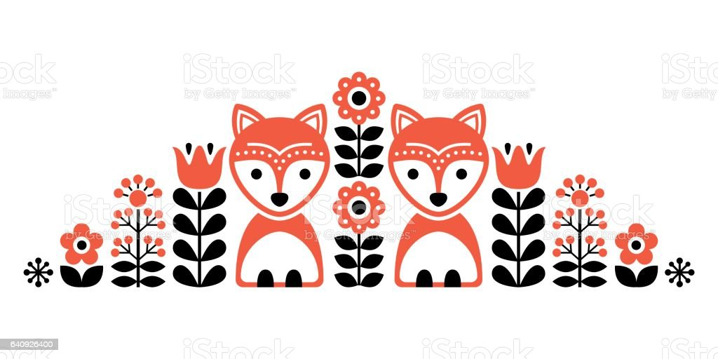 Scandinavian cute folk pattern with fox and flowers - Finnish inspired, Nordic style vector art illustration