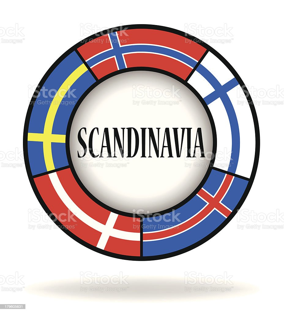 Scandinavian flags in a circle royalty-free stock vector art