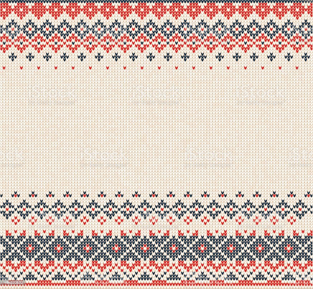 Scandinavian or Russian style knitted background with borders vector art illustration