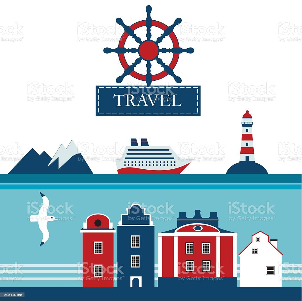 Scandinavian  sea cruise flat vector icons vector art illustration