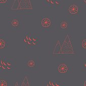 Scandinavian style seamless vector pattern. Holidays in mountains.