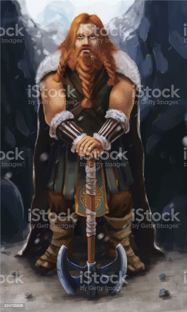 Scandinavian viking with ax on the mountain vector art illustration