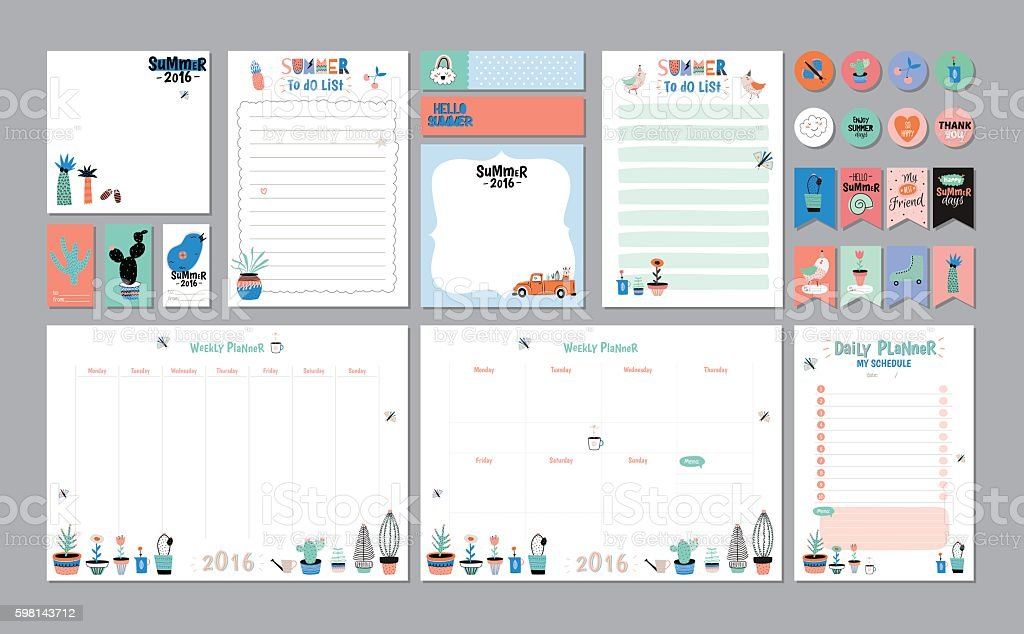 Scandinavian Weekly and Daily Planner vector art illustration