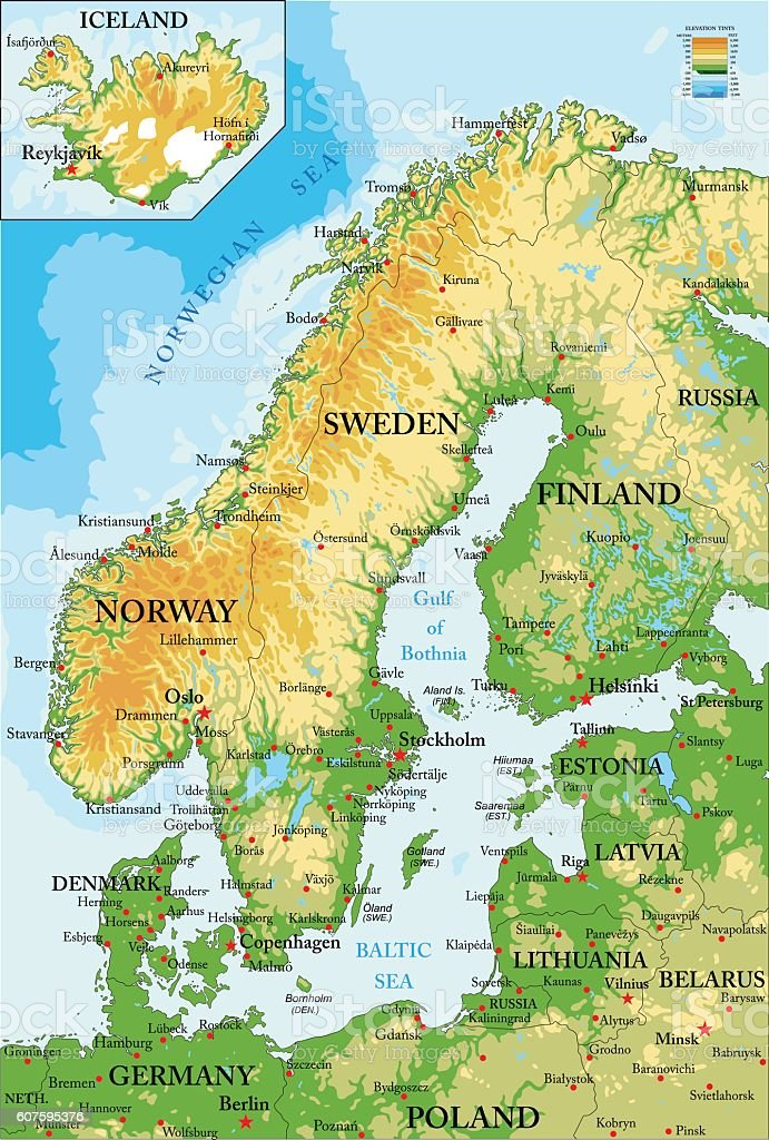Scandinavia-physical map vector art illustration