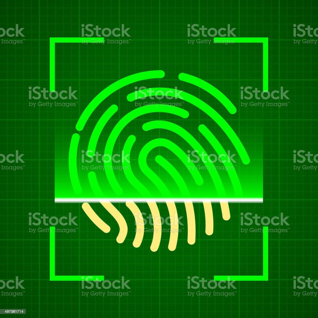 Scanning fingerprint vector art illustration