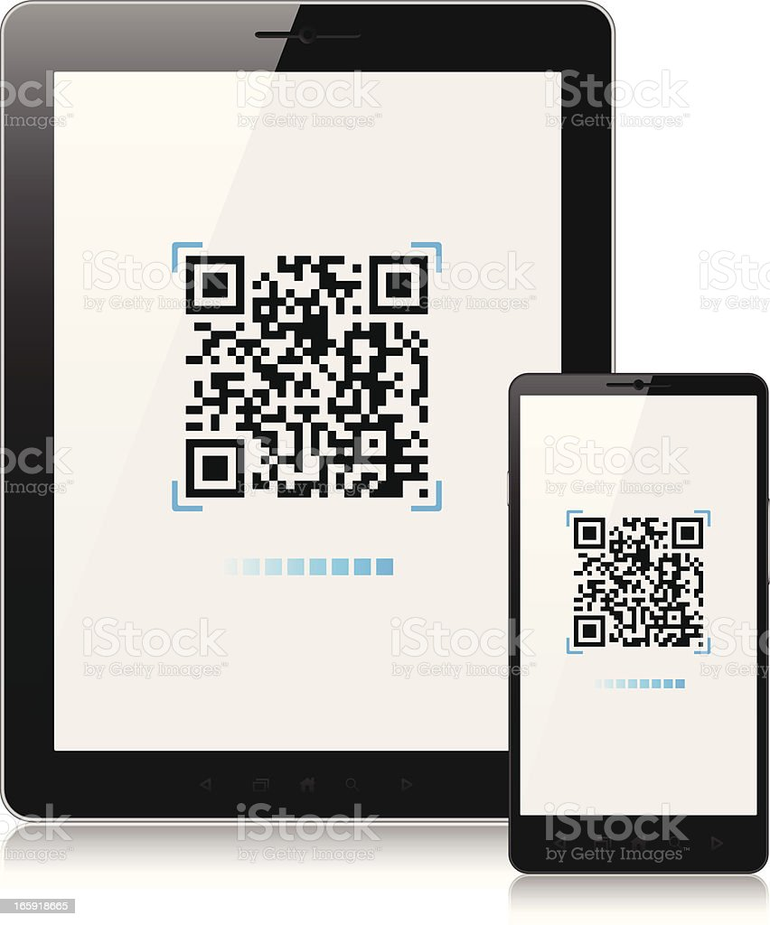 Scanning QR-Code with mobile phone and tablet pc vector art illustration