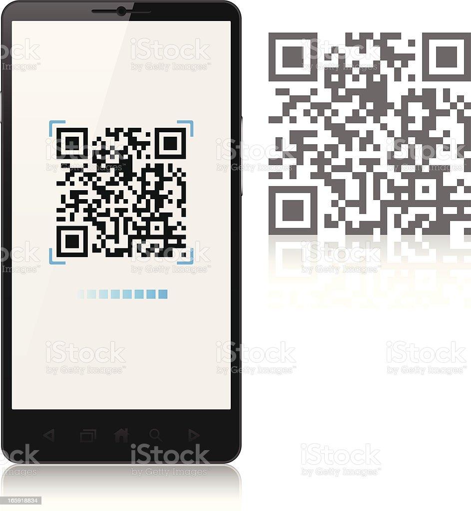 Scanning QR-Code with mobile phone, smartphone vector art illustration