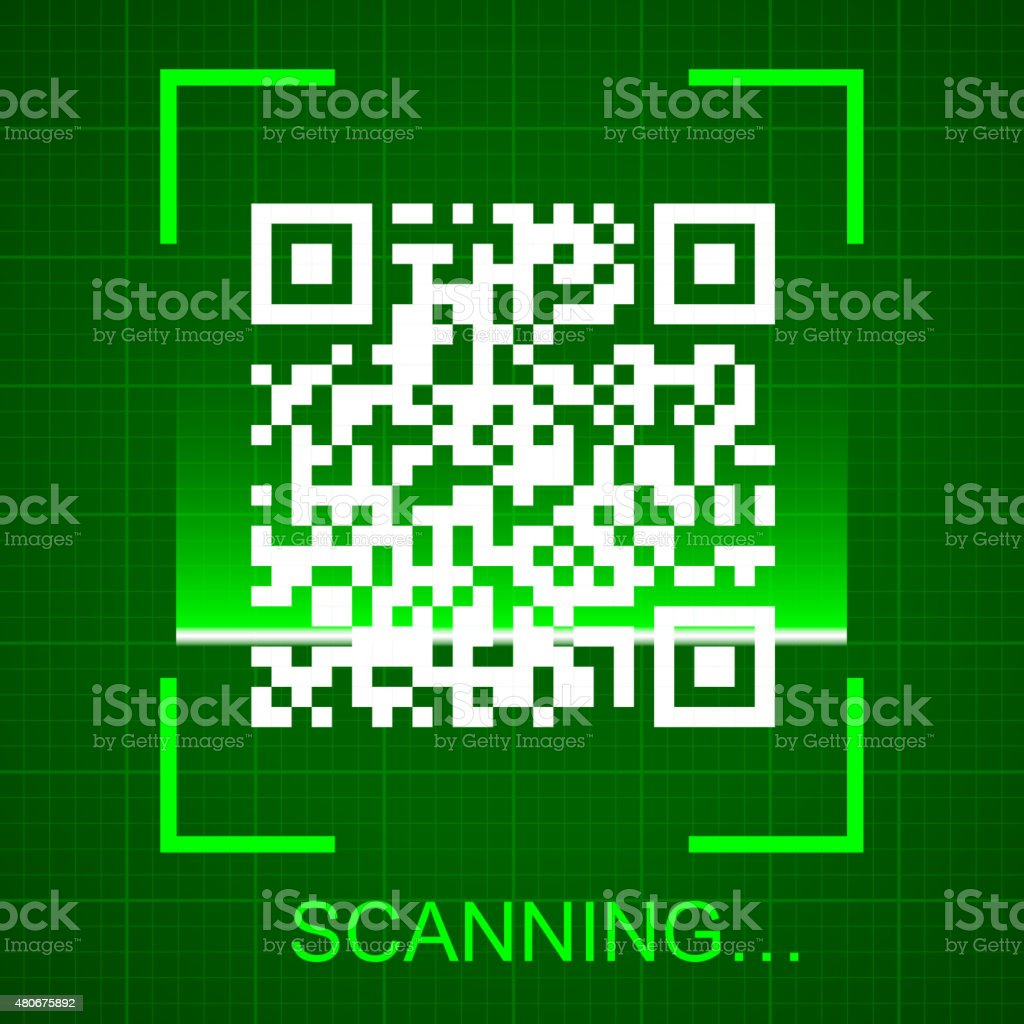 Scanning the QR code vector art illustration