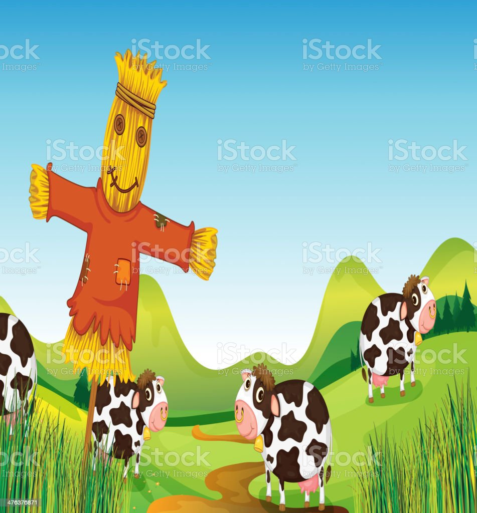 scarecrow and cows royalty-free stock vector art