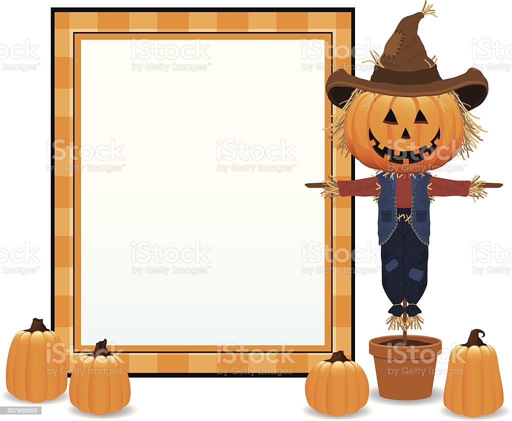 Scarecrow and Pumpkin Frame royalty-free stock vector art
