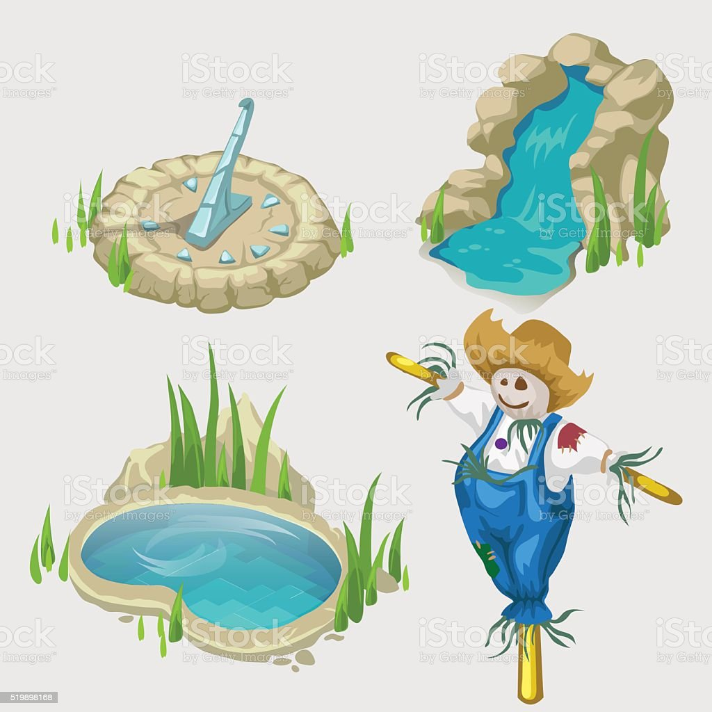 Scarecrow, fountain, pool and decorative elements vector art illustration