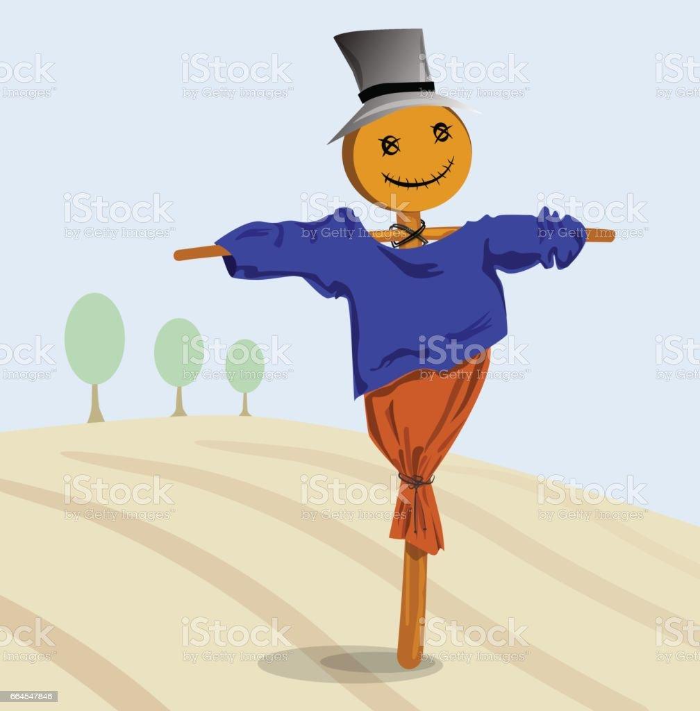 Scarecrow in autumn field vector art illustration
