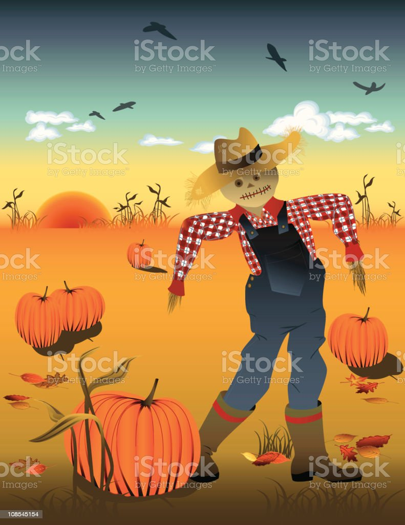 Scarecrow in Pumpkin Patch Field at Sunset royalty-free stock vector art