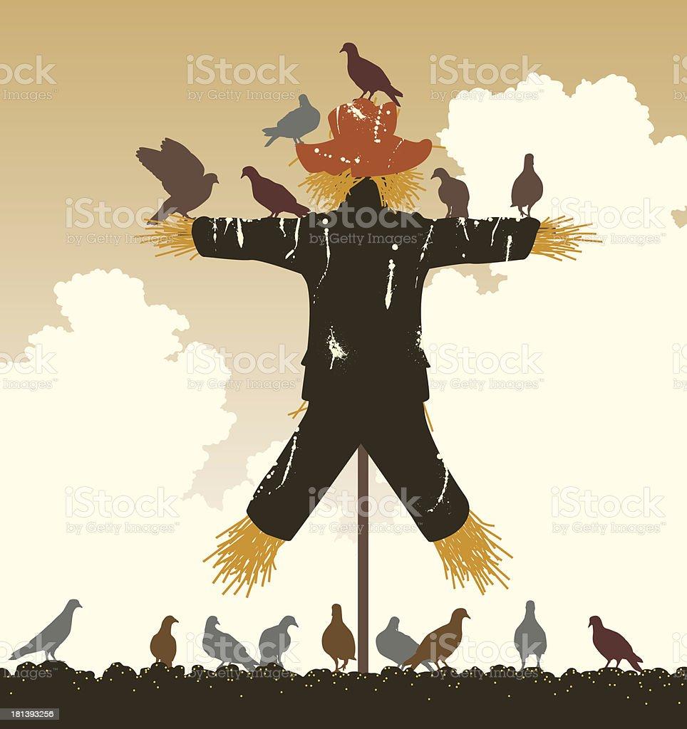 Scarecrow pigeons vector art illustration
