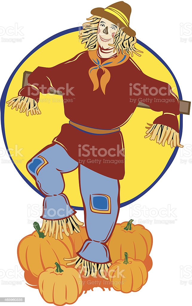 Scarecrow Pumpkins C royalty-free stock vector art