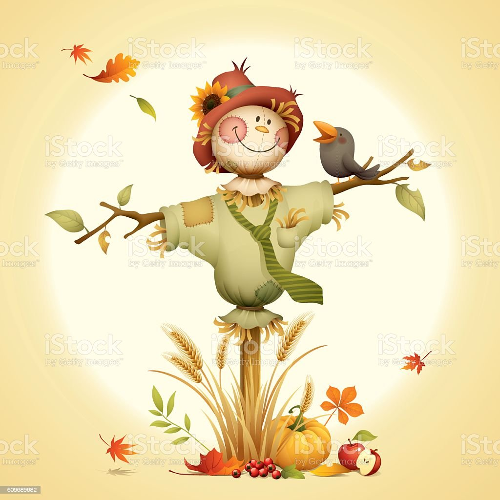 Scarecrow vector art illustration