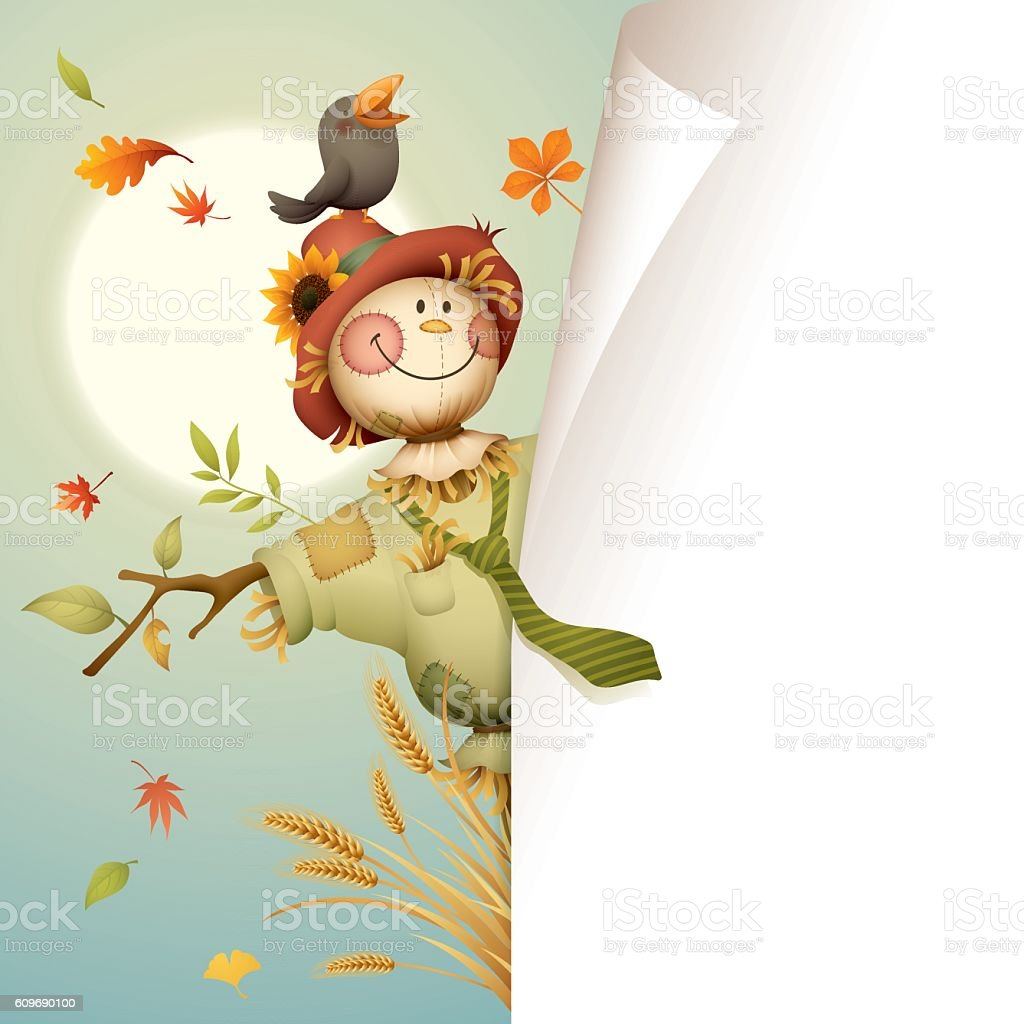 Scarecrow with page curl for copy space vector art illustration