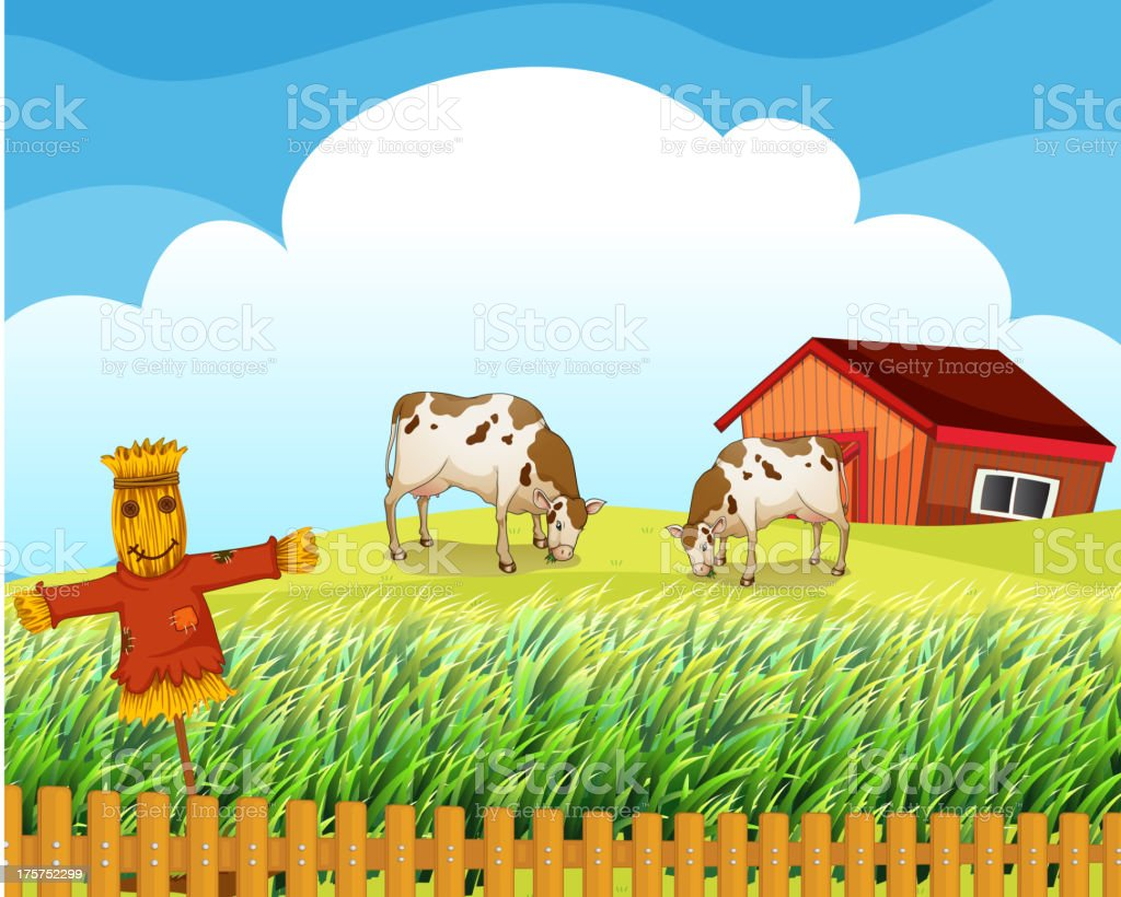 Scarecrow with two cows inside the fence royalty-free stock vector art