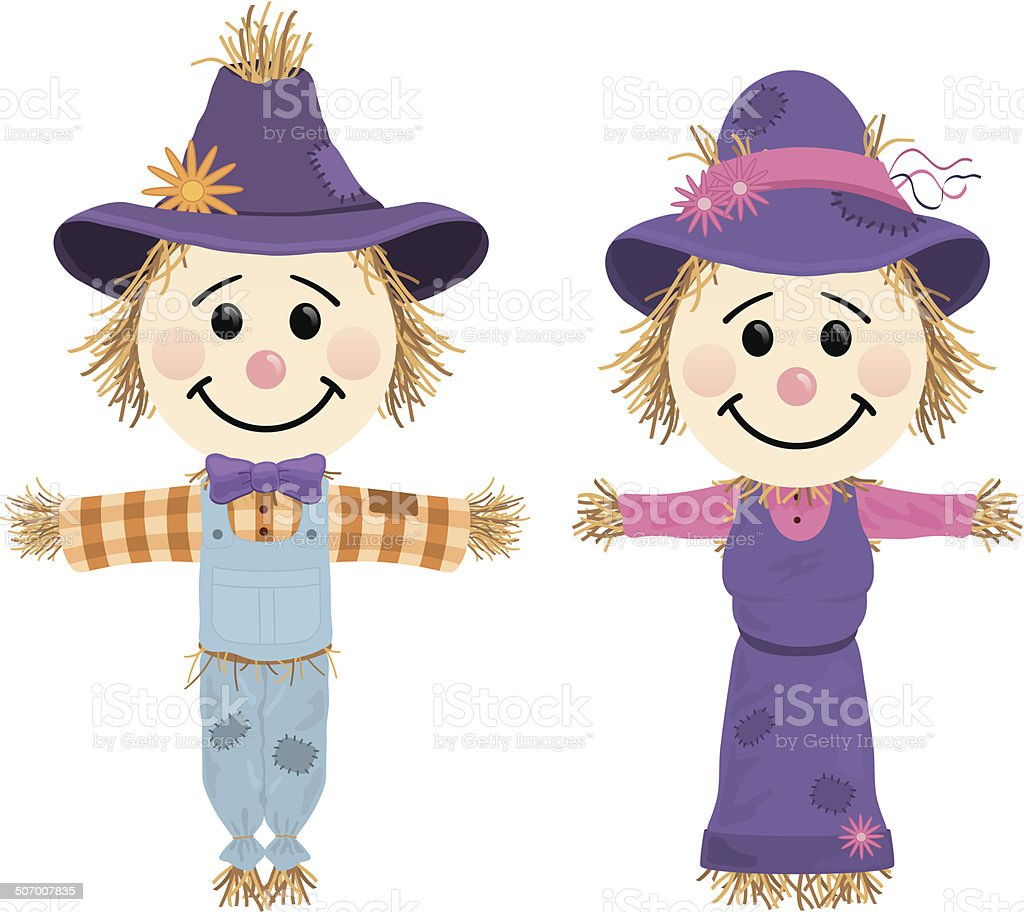 Scarecrows vector art illustration