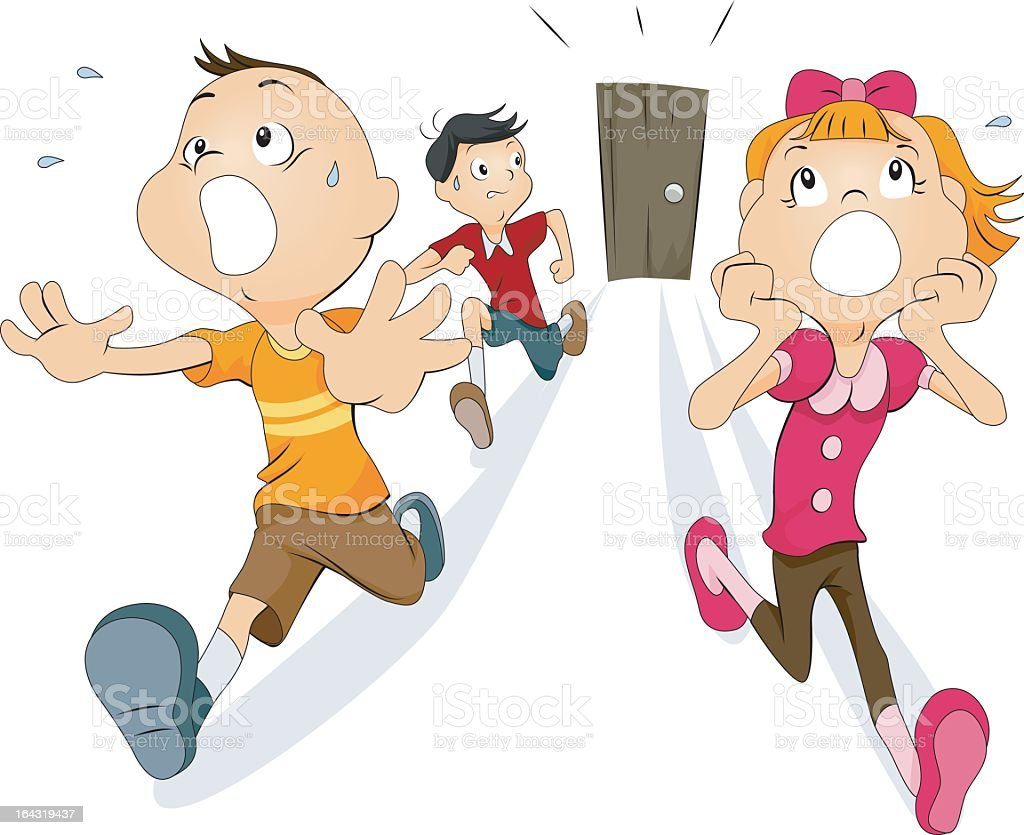 Scared and screaming children running away from door vector art illustration