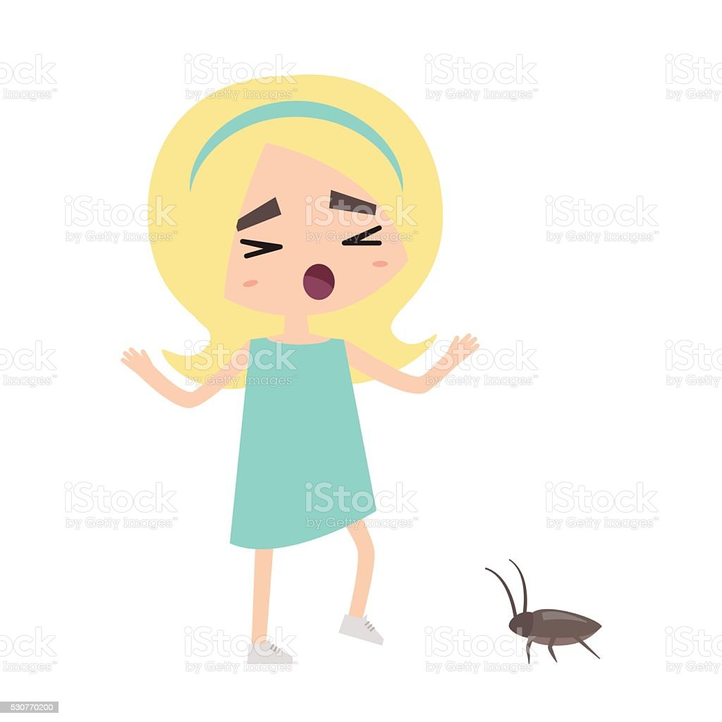 Scared blond retro girl and a cockroach vector art illustration