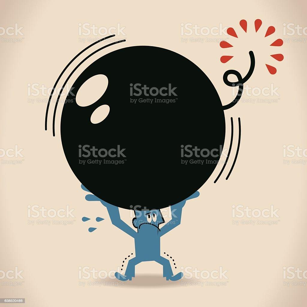 Scared businessman carrying a big bomb (crisis) vector art illustration