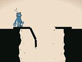 Scared businessman standing on the edge of a broken bridge