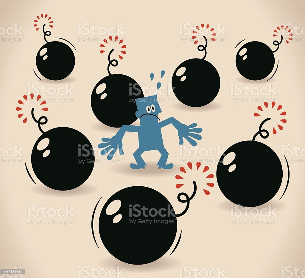 Scared businessman was surrounded by bombs vector art illustration