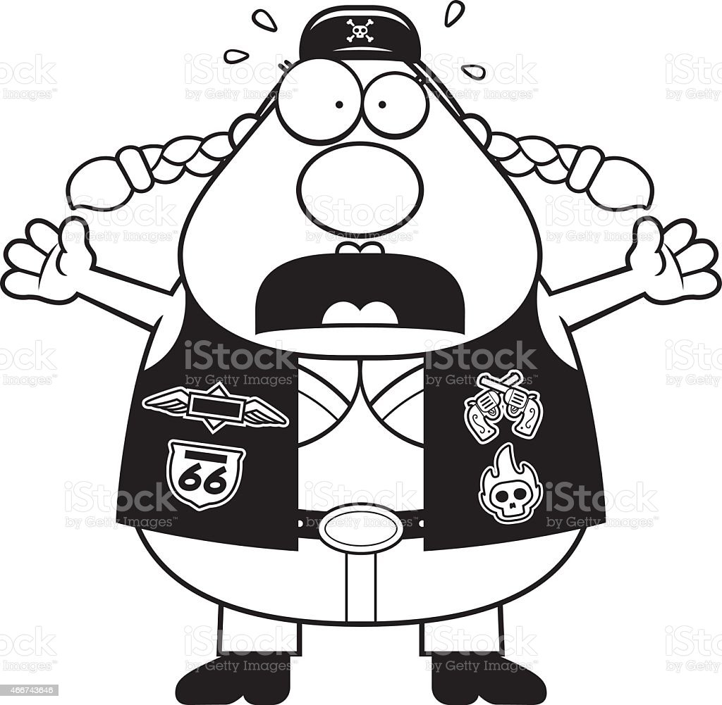 Scared Cartoon Biker Woman vector art illustration