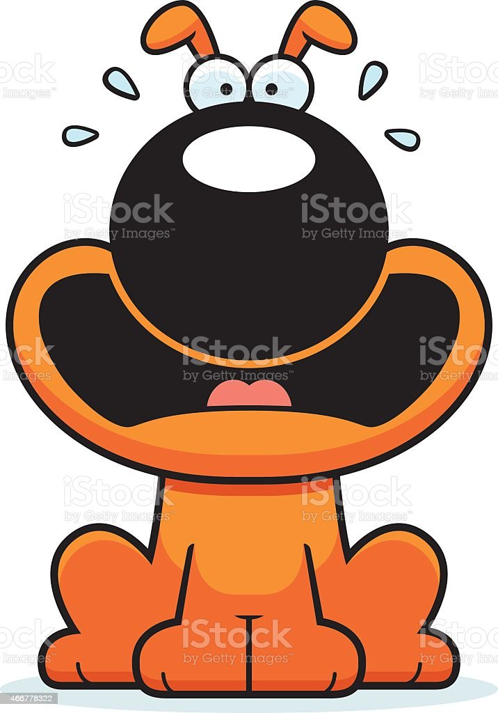 Scared Cartoon Dog vector art illustration
