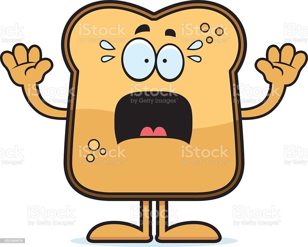 Scared Cartoon Toast vector art illustration