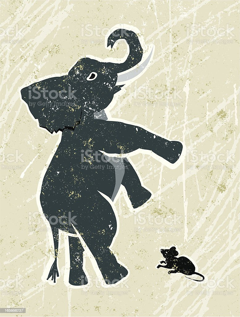 Scared Elephant and Mouse vector art illustration
