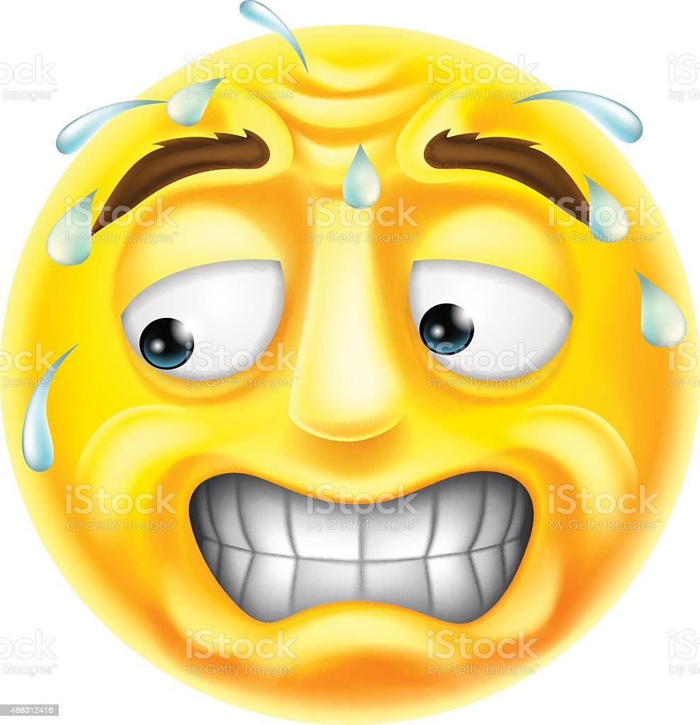 Scared Emoticon Emoji vector art illustration